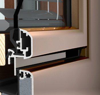 Internorm HV350 studio Fenster Detailschnit Flügel in glasoptik